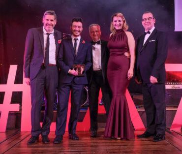 LTA17 Large Tourism Event Award winner LightPool Festival with Tony Livesey & Prof Chris Pyke UCLan headline sponsor