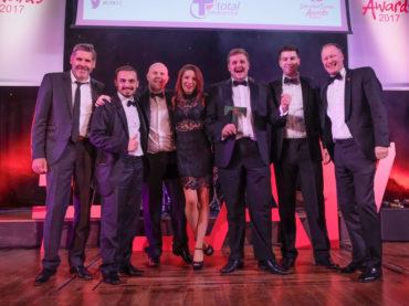 LTA17 Taste Lancashire Award winner Bertrams Restaurant with Tony Livesey GP Simon Howarth Total Foodservice sponsor