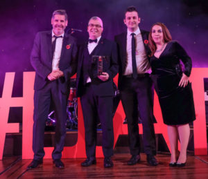 LTA17 Business Tourism Provider Award winner Winter Gardens with Tony Livesey GP & Cassie Fairclough Heart FM sponsor