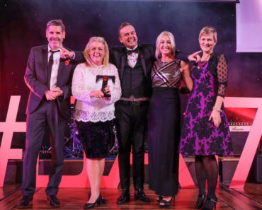 LTA17 Self Catering Holiday Award winner Newton Hall Holiday Park with Tony Livesey & Jill Bayfield Quality in Tourism sponsor