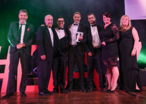 LTA17_Large Hotel Award_Winners The Midland with Tony Livesey GP & Jane Shaw UCLan sponsor
